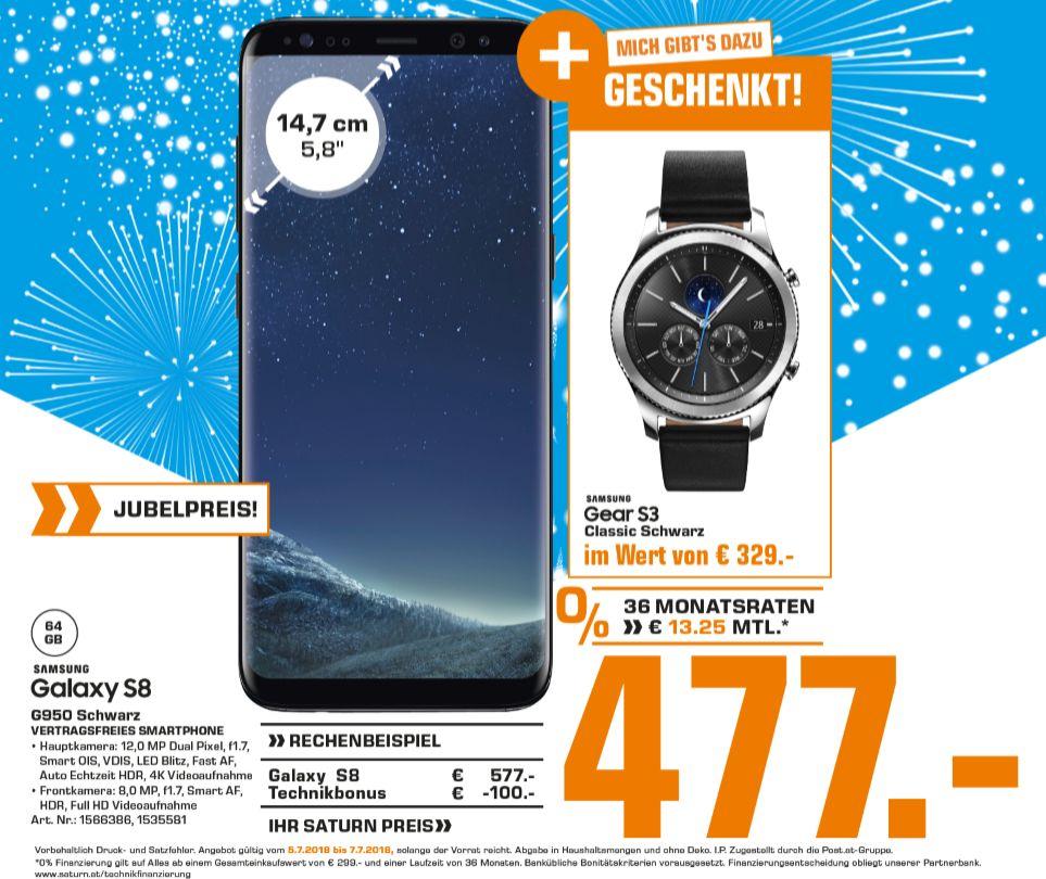 [Regional Saturn Österreich -Wien Donau Zentrum und Wien Gerngross ab 05.07] Samsung Galaxy S8 + Samsung Gear S3 Classic für 477,-€