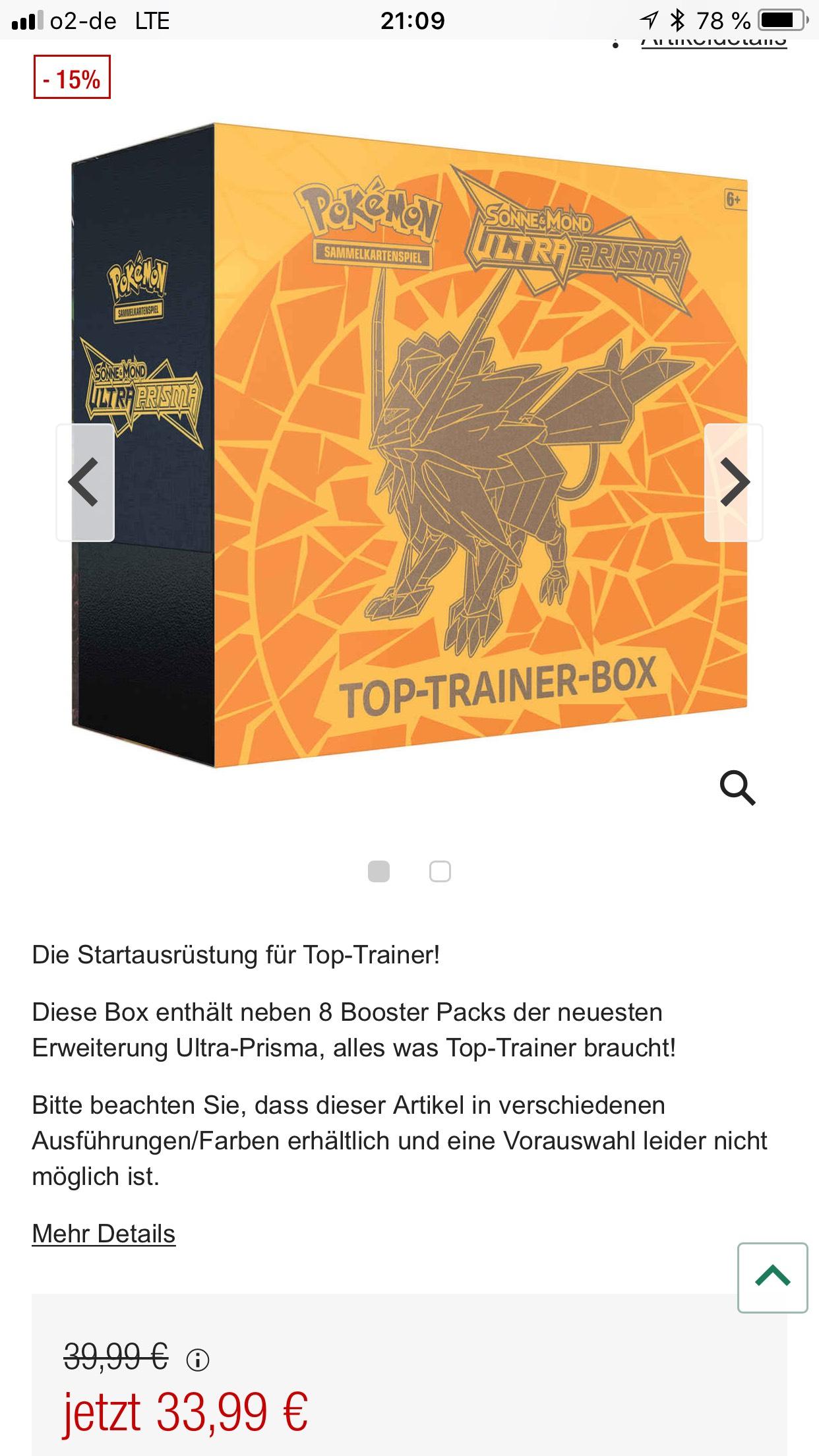 "Galeria Kaufhof - Pokémon - Ultra-Prisma Top Trainer B"", 2fach sortiert"