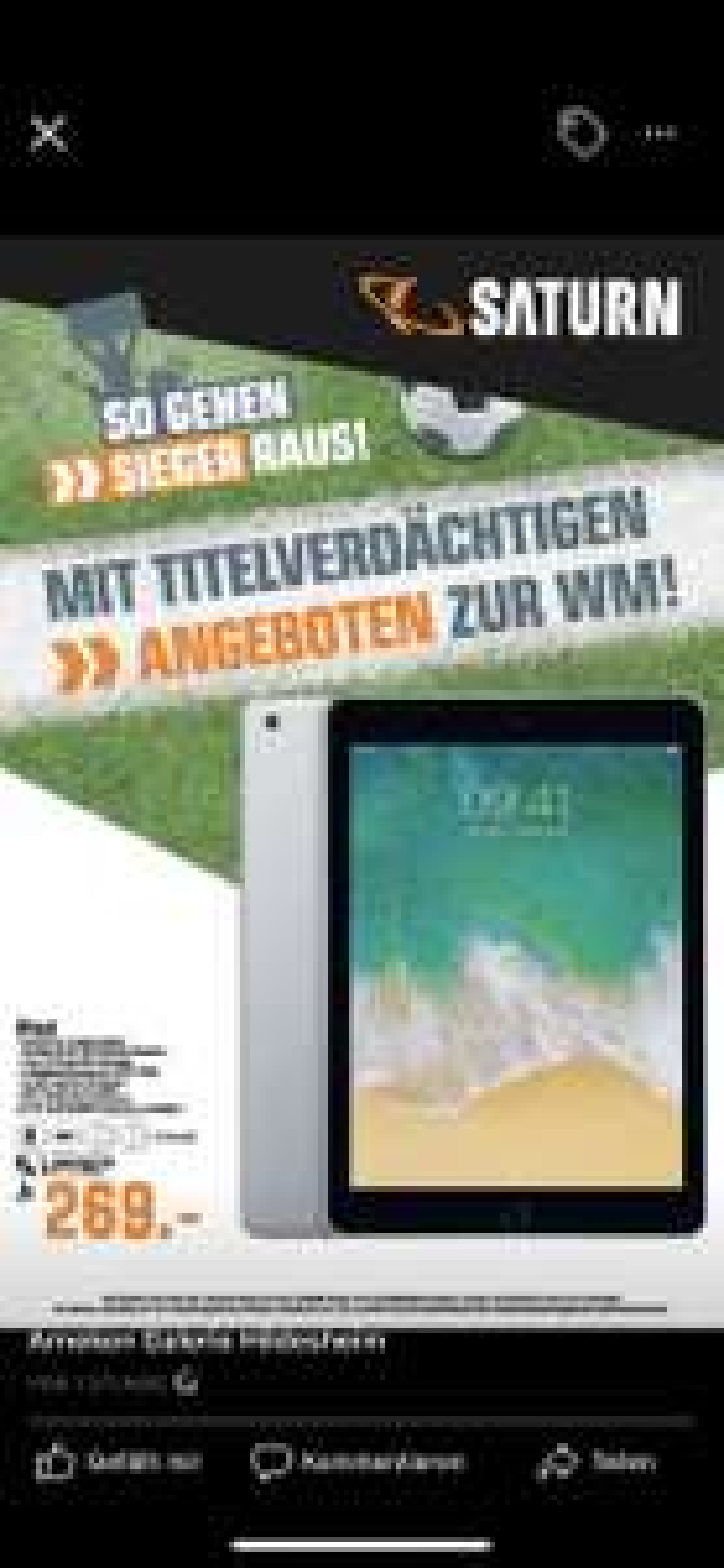 [Lokal Saturn Hildesheim] iPad 32GB WIFI (2017)