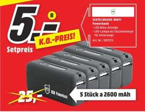[Regional Mediamarkt Porta Westfalica] 5 x Scutes Deluxe - USB PowerBank 2.600 mAh für 5,-€ (1,-€ pro PB)