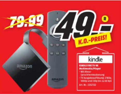 [Regional Mediamarkt Baden-Baden] Amazon Fire TV 4K Ultra HD and Alexa-Sprachfernbedienung schwarz für unschlagbare 49,-€
