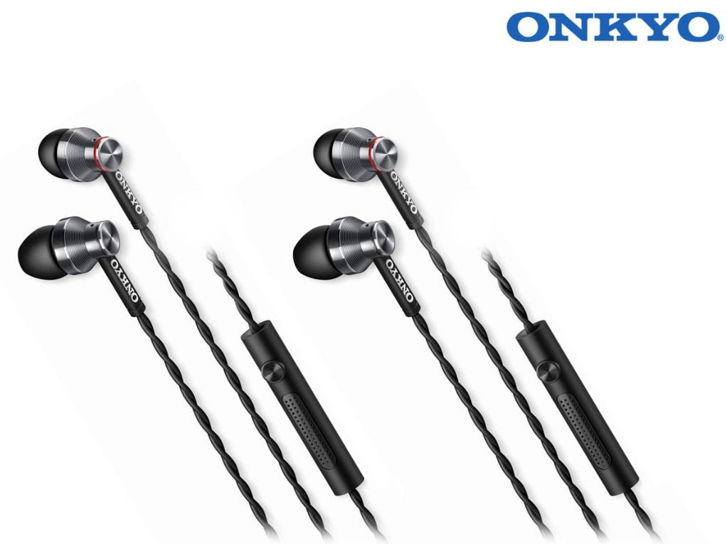 Doppelpack Onkyo E300MB In-Ear Kopfhörer/ Headset mit Mikrofon (Aluminiumgehäuse, verdrilltes Kabel, 3 Paar Silikonkappen) schwarz