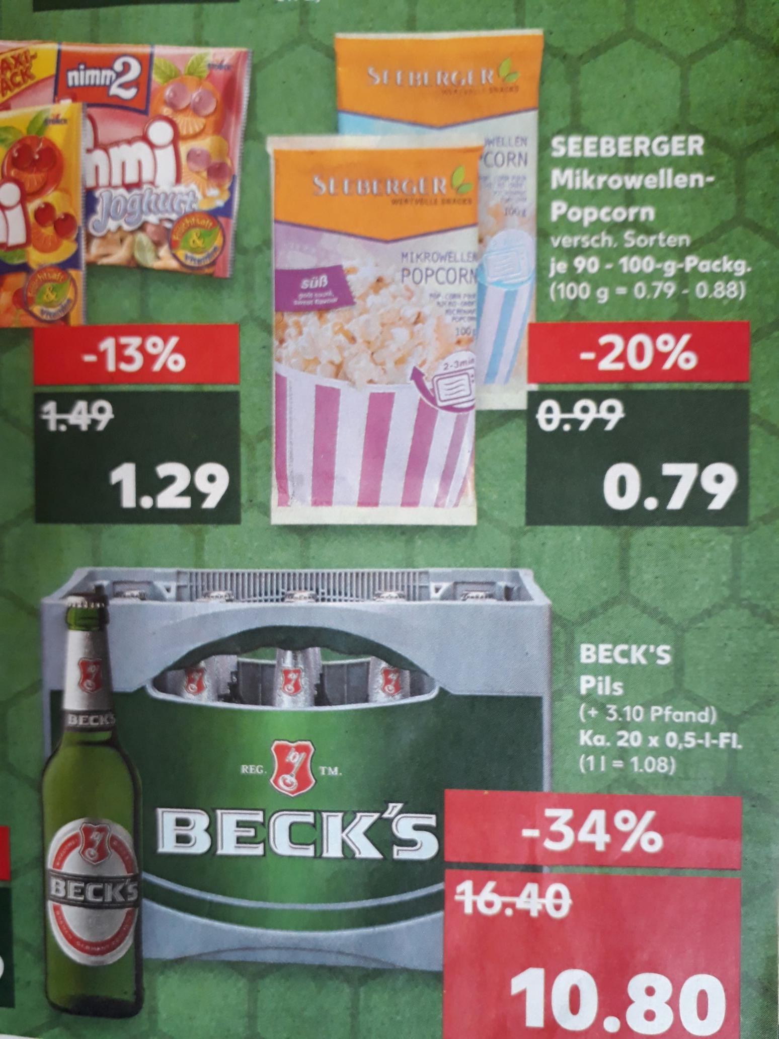 [Kaufland Köln] Beck's Pils 20x 0,5L (Seeberger Mikrowellen Popcorn 0,79; Valensina 0,99; Bübchen 1,49)