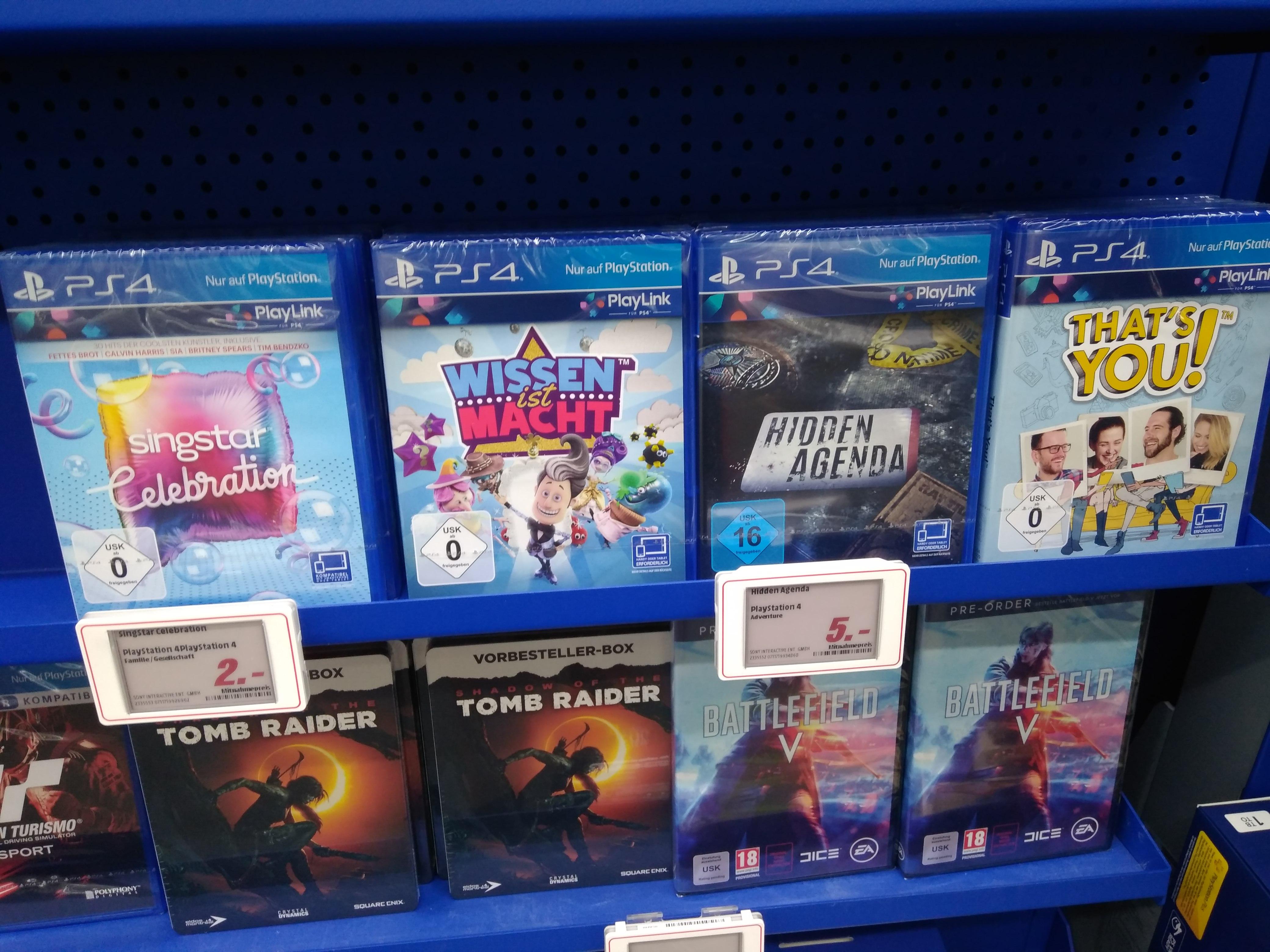 [Lokal Mediamarkt Zwickau] PlayLink PS4 SingStar Celebration für 2€, Hidden Agenda 5€ und mehr