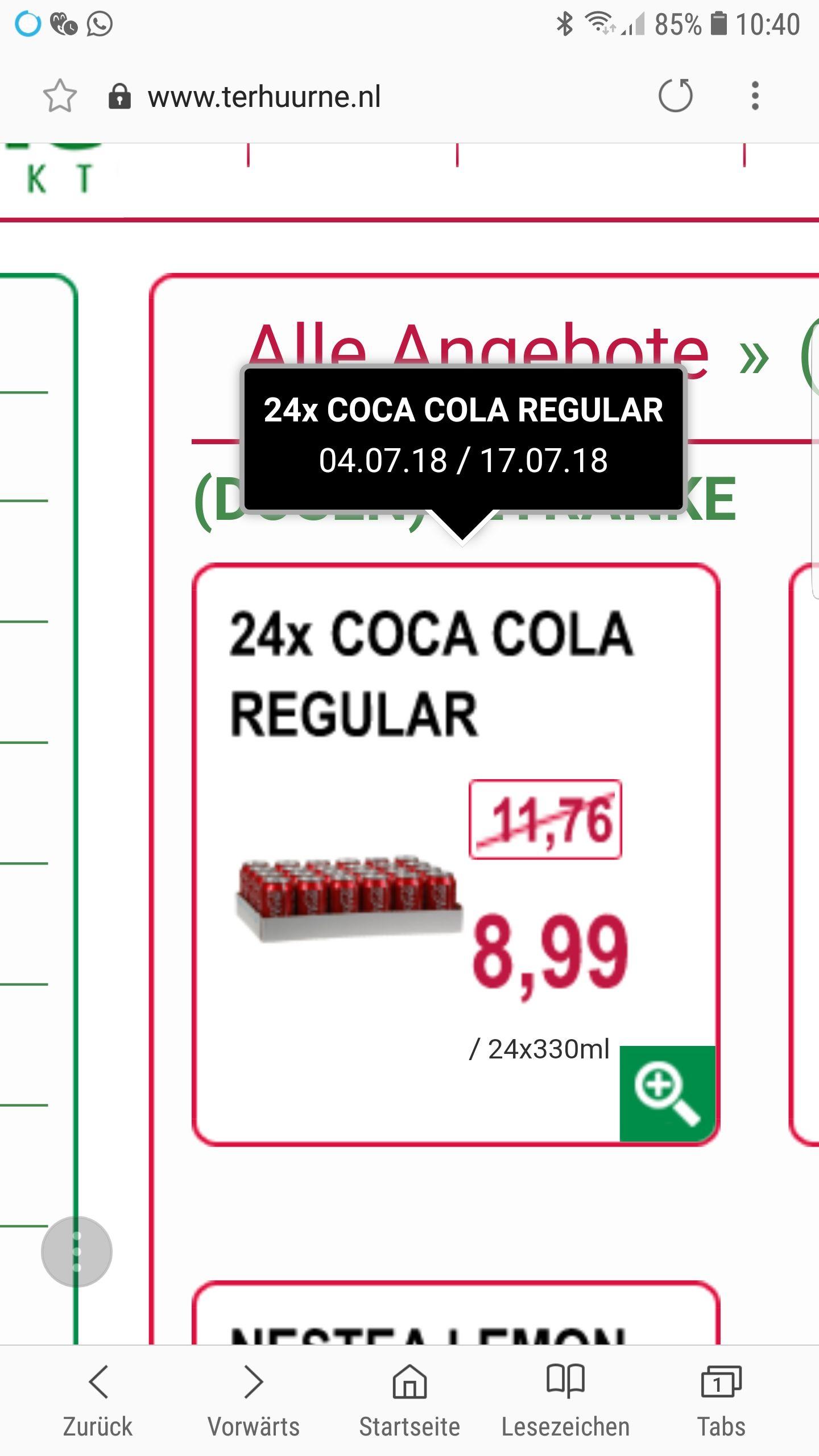 Grenzgänger D/NL  24 Coca-Cola Dosen für 8,99€ ohne Pfand(NL kein Pfand)! 0,37€/Büchse