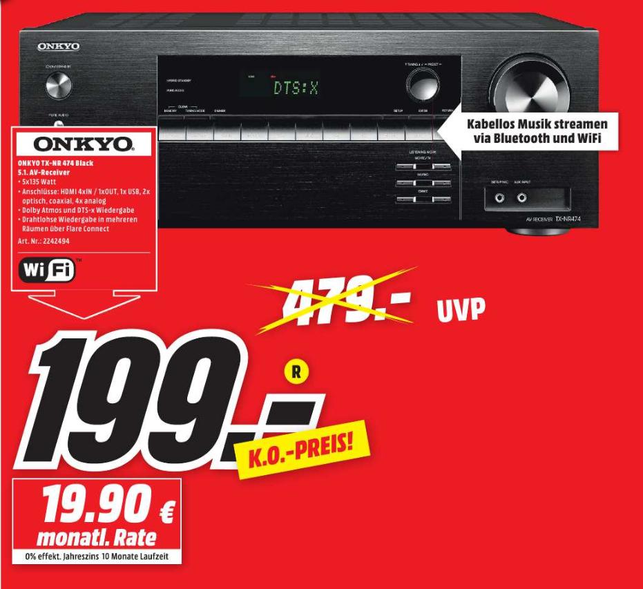ONKYO TX-NR 474 Surround Receiver für 199€ (UVP 479€) im Media Markt Düsseldorf Metrostraße