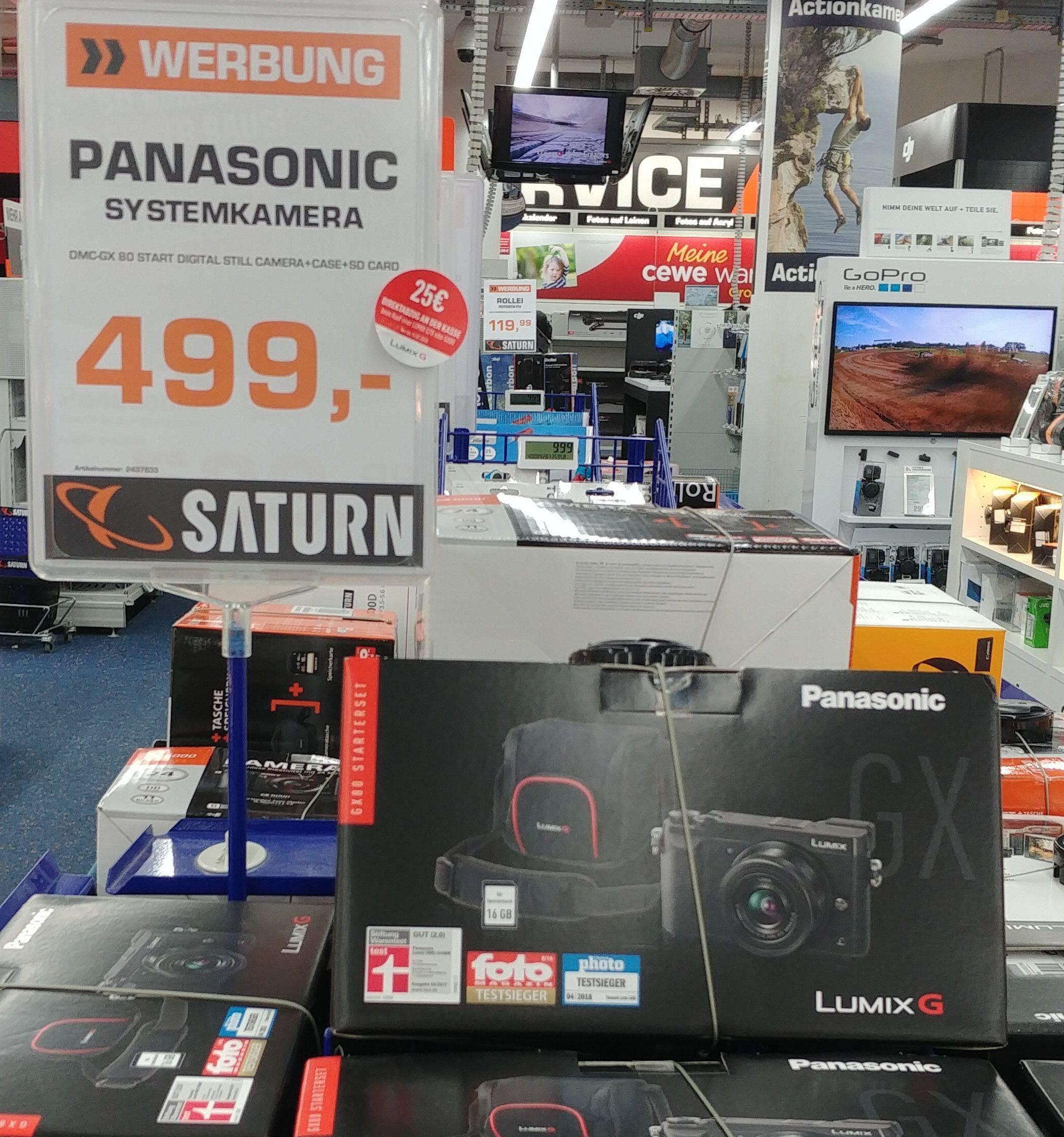 Panasonic GX 80 mit 12-32mm Objektiv, Speicherkarte und Tasche [lokal] im Saturn Stuttgart, Königsbau Passagen