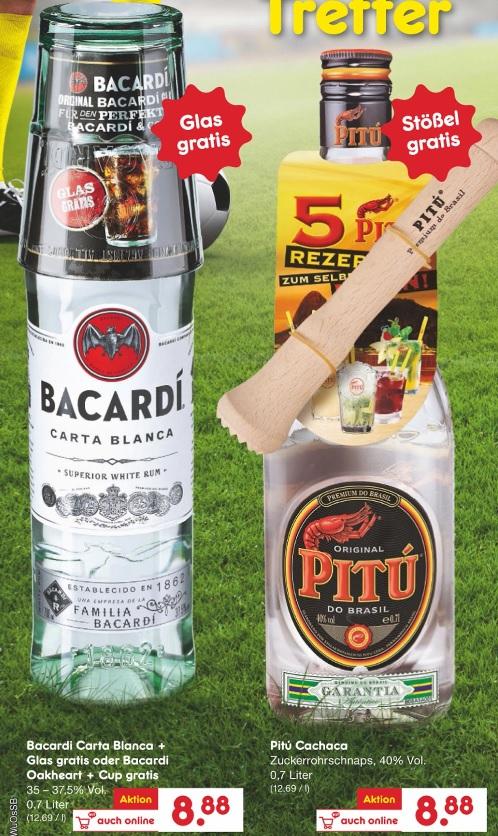 [Netto ohne Hund] Bacardi (0,7l - versch. Sorten) und Pitu (0,7l) im Angebot - mit Glas/Becher/Stößel