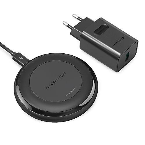 RAVPower Wireless Charger aktualisierte Version 10W Qi kabelloses Schnellladegerät für S9, S8, Note 8, iPhone X, iPhone 8 und andere Qi-fähige Geräte