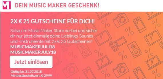 Magix Music Maker 2x 25€ Gutschein mit 29,99€ Mindestbestellwert