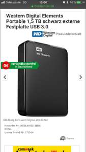 WD Elements Portable, Externe Festplatte - 1,5 TB