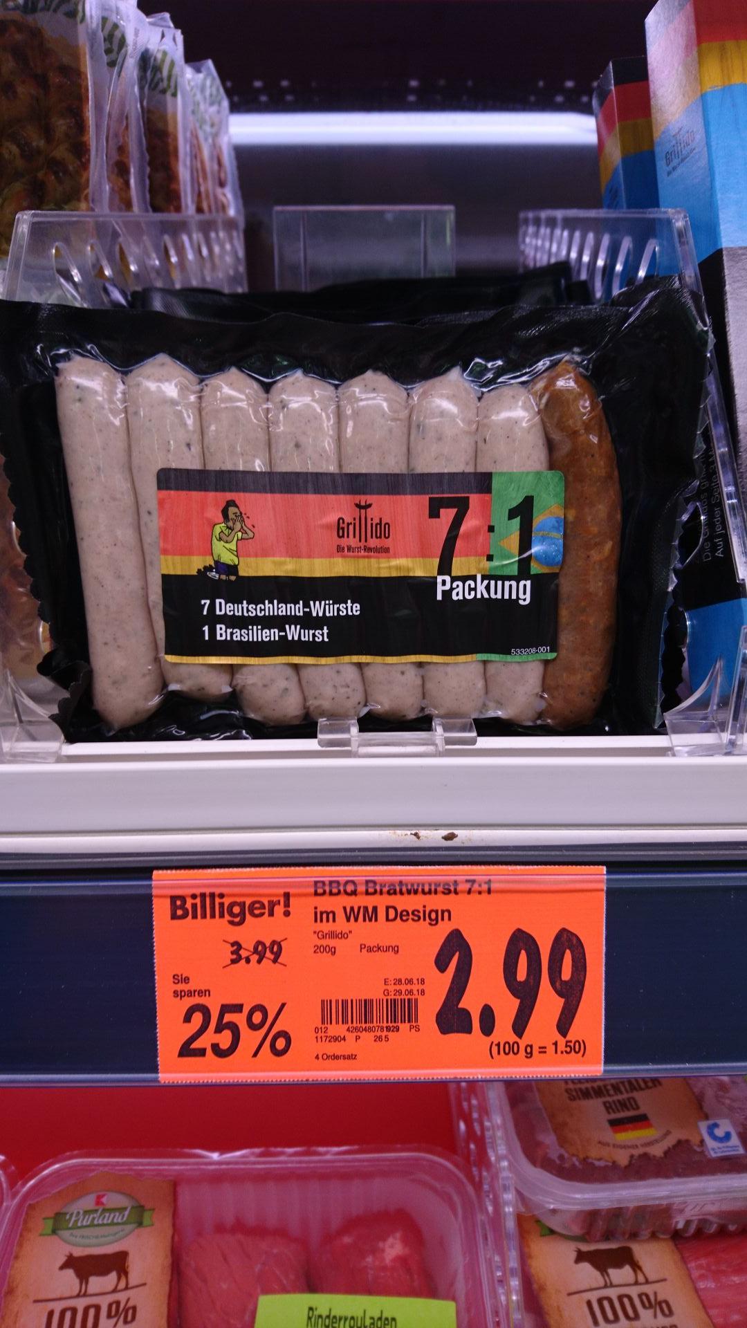 7 : 1 BBQ Bratwurst (Deutschland : Brasilien) im Kaufland (Süd?!)
