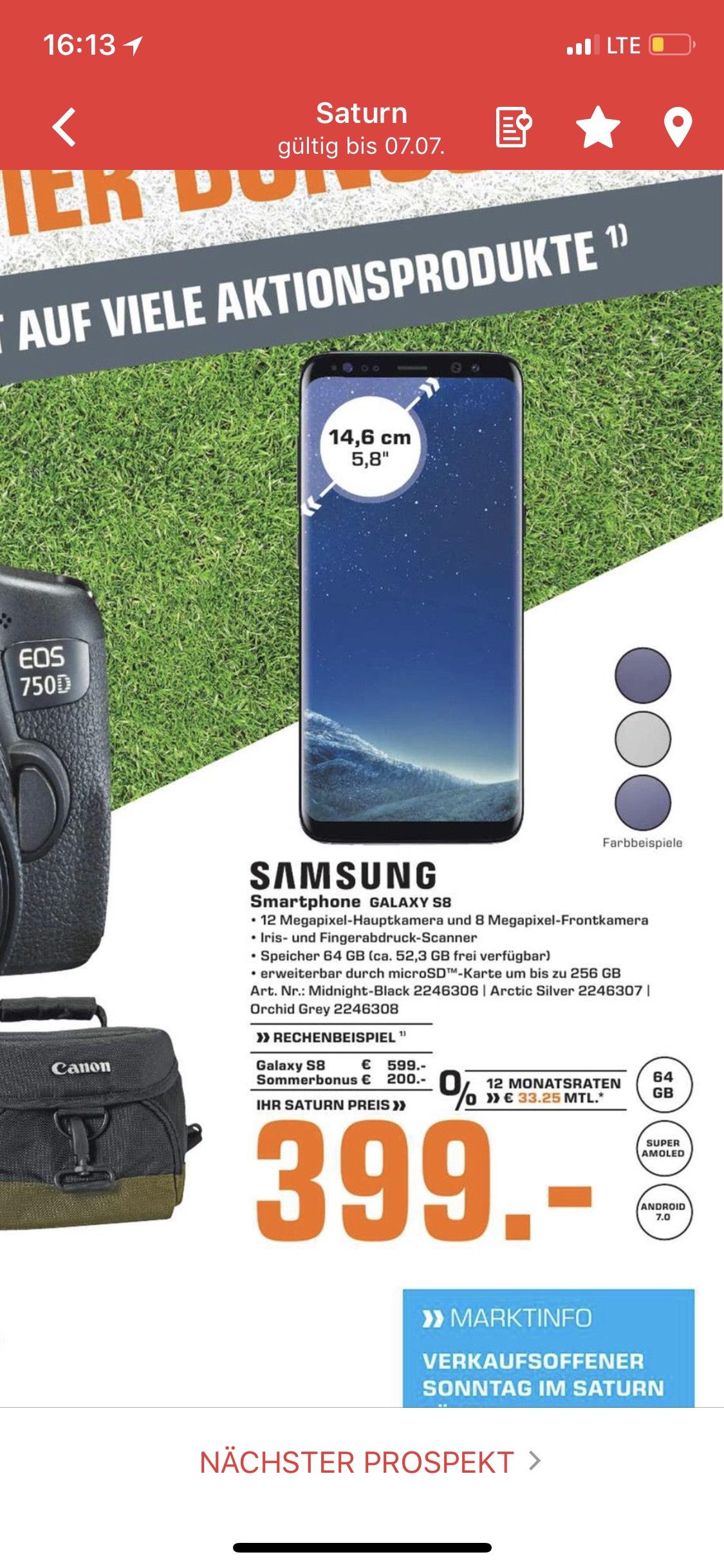 [Saturn Nürnberg] Samsung Galaxy S8 Smartphone