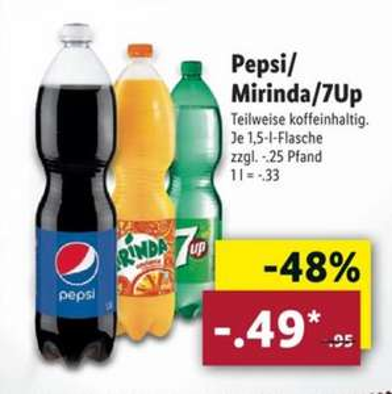 Pepsi / Mirinda / 7Up je 1,5l Flasche für 0,49€ zzgl. Pfand @ LIDL