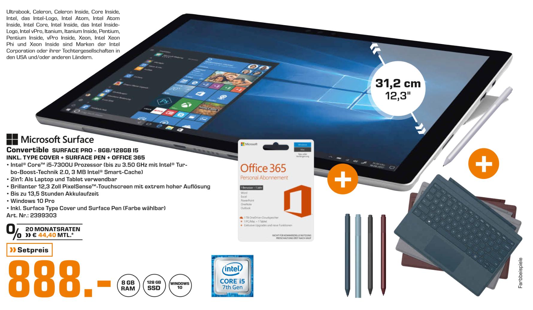 (Saturn Hamburg Mönckebergstr.) Surface Pro i5 8GB 128GB + Typecover + Pen + Office 365