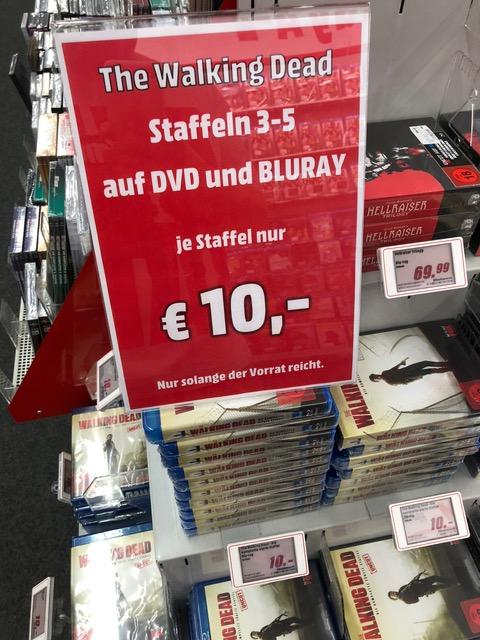 The Walking Dead - Staffel 3,4,5 für jeweils nur 10€ /DVD & BluRay/ Media Markt / Wuppertal / LOKAL