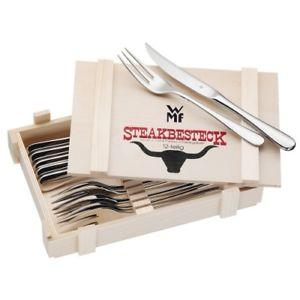 WMF STEAKBESTECK 2x 12 TEILIG HOLZKISTE  12X STEAKMESSER + 12X GABEL für 40,80€ [Ebay Plus]