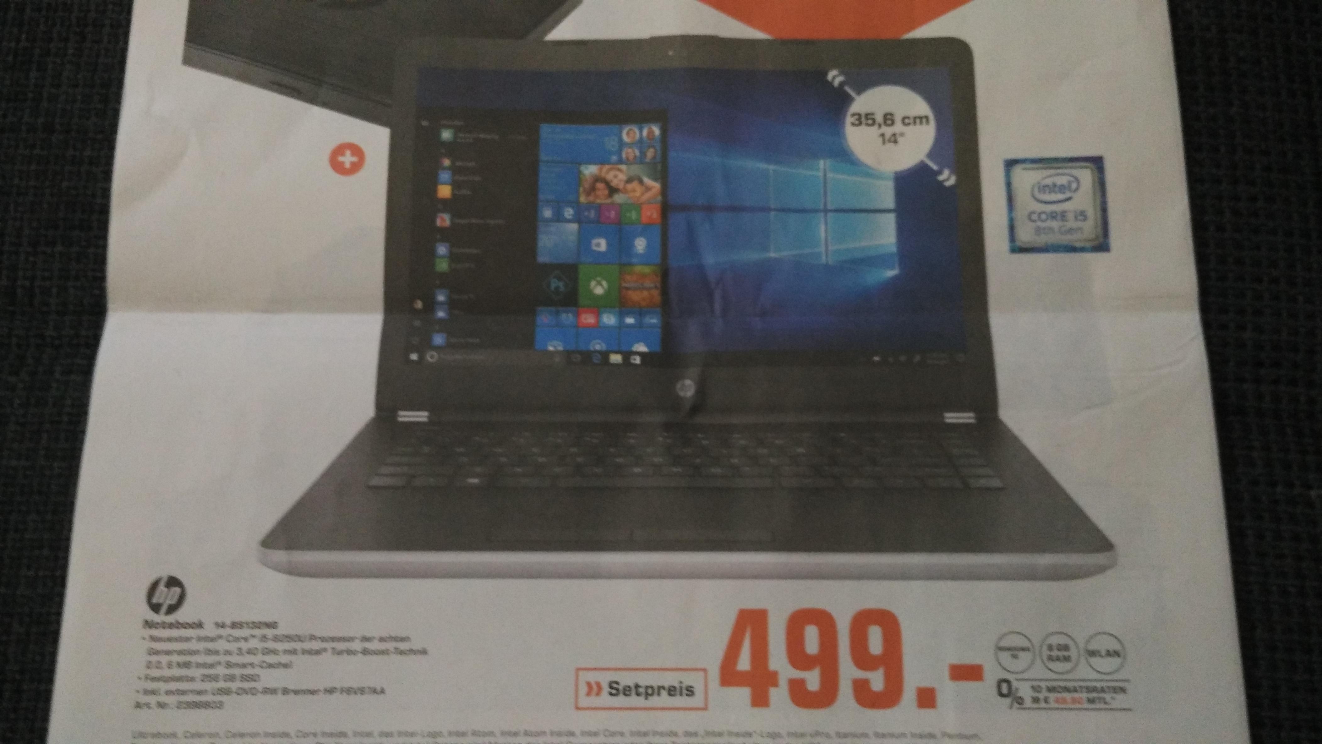 "[Lokal München - Saturn] HP 14-bs132ng - 14"" Full HD Notebook (i5-8250U, 8 GB RAM, 256 GB SSD, IPS, Windows 10 Home, 1.70kg)  + Externer DVD Brenner HP F6V97AA"
