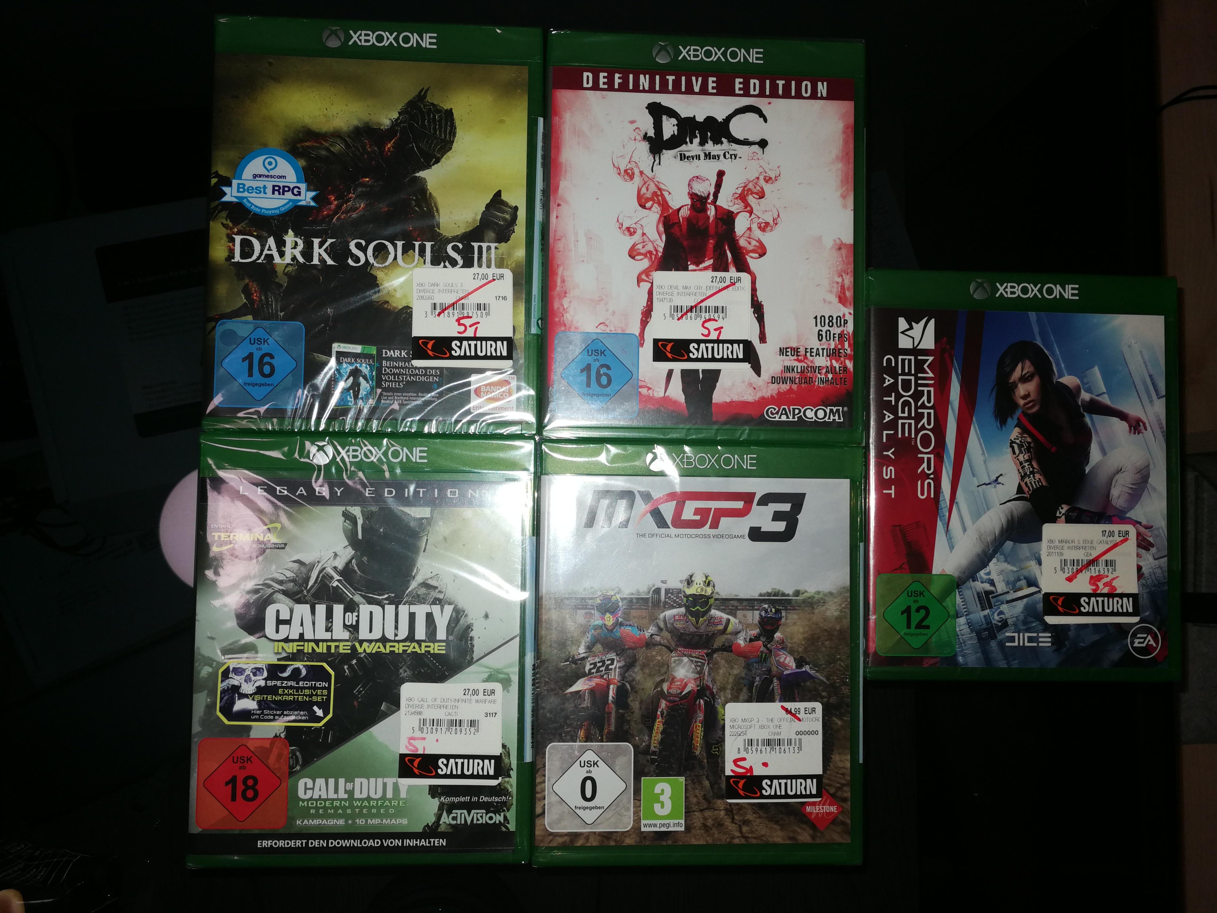 [Lokal Saturn Kempten] diverse Xbox One und PS4 Spiele für 5€ und 10€ (DarkSouls3, Mirrors Edge Catalyst, MXGP 3, Fifa 17,...)