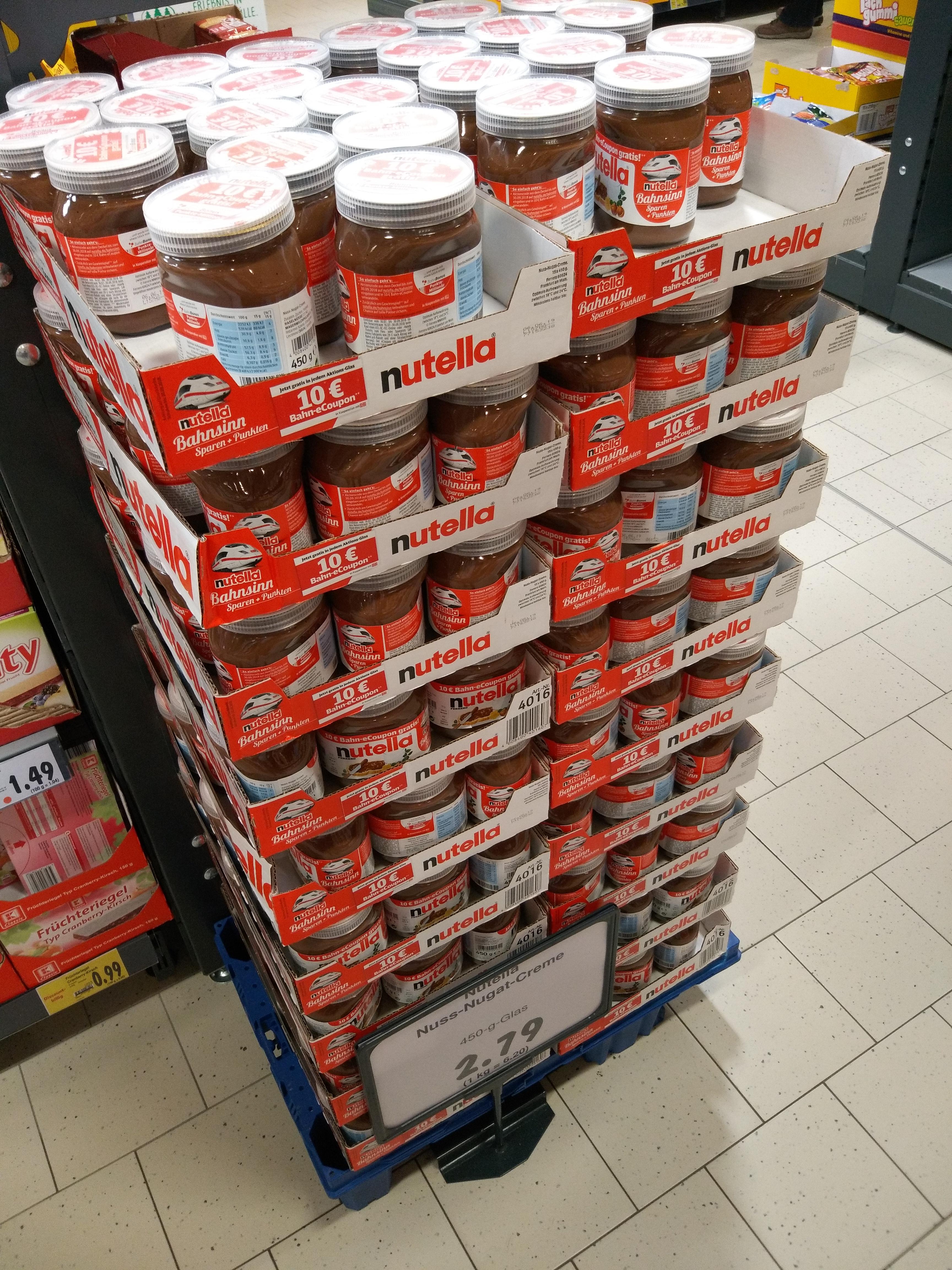 [Kaufland] Nutella-Aktionsgläser: 2,79 Euro mit 10-Euro-Bahngutschein
