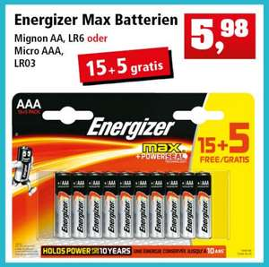 [Thomas Philipps] Energizer Max AA (LR6) // AAA (LR03) 20er Packung für 5,98€ (=0,30€/Stück)