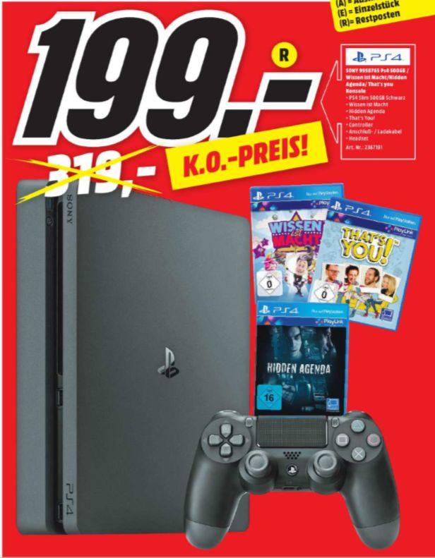 [Regional Mediamarkt Jena] Playstation 4 Slim mit 500GB + Wissen ist Macht + That´s You + Hidden Agenda für 199,-€