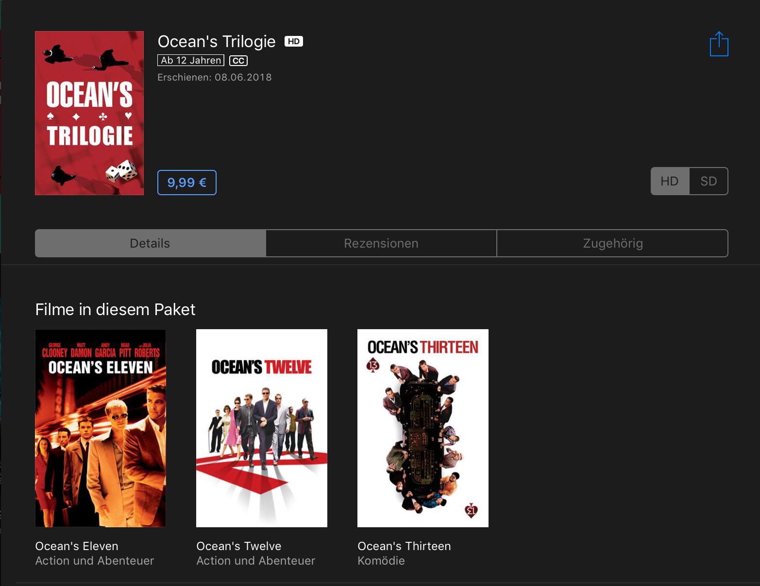 iTunes - Ankündigung 10 Tage 10 Bundles - Start mit Ocean's Trilogie