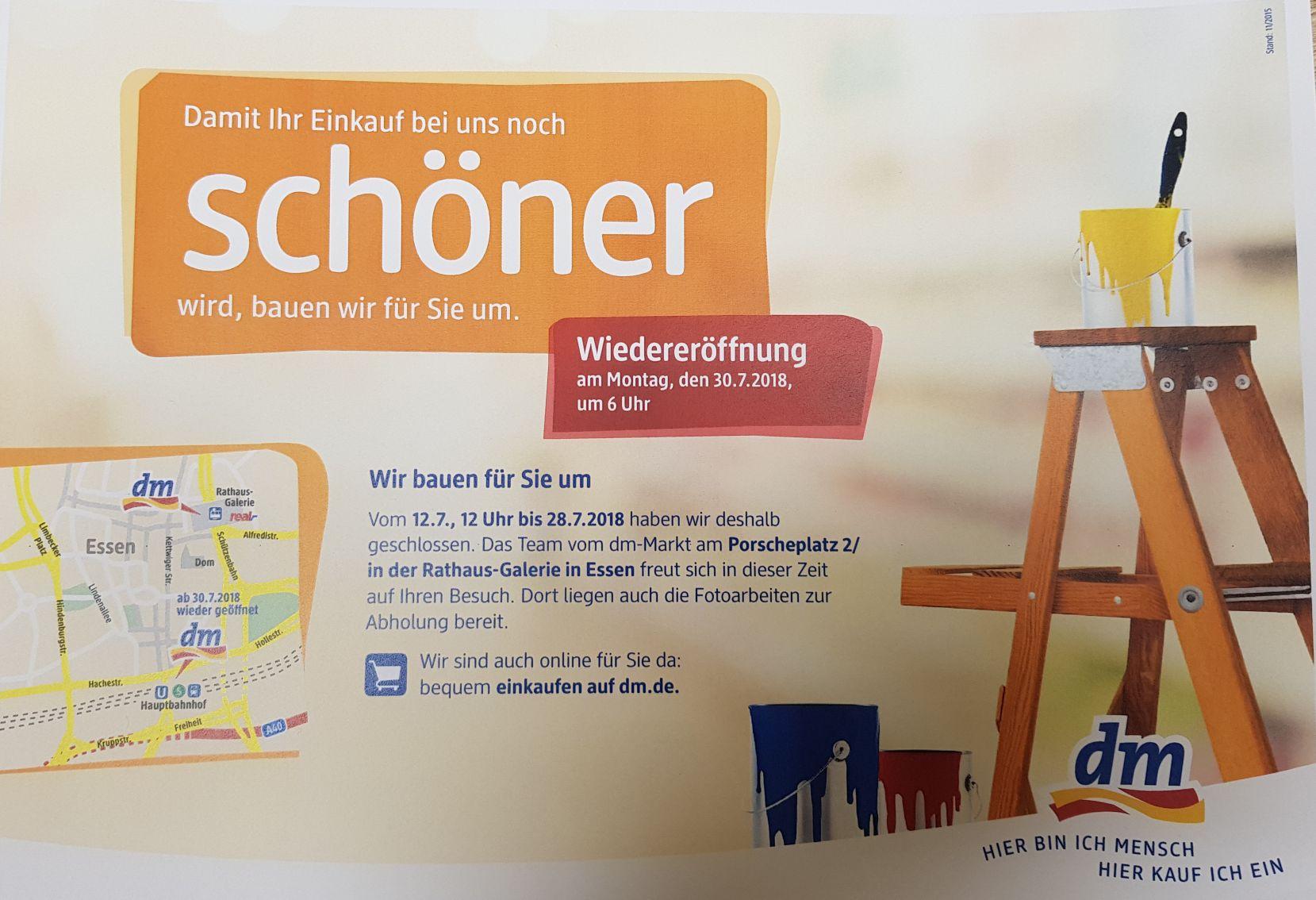 [Lokal] dm am Essener Hauptbahnhof 20% Rabatt am 10. + 11.07.