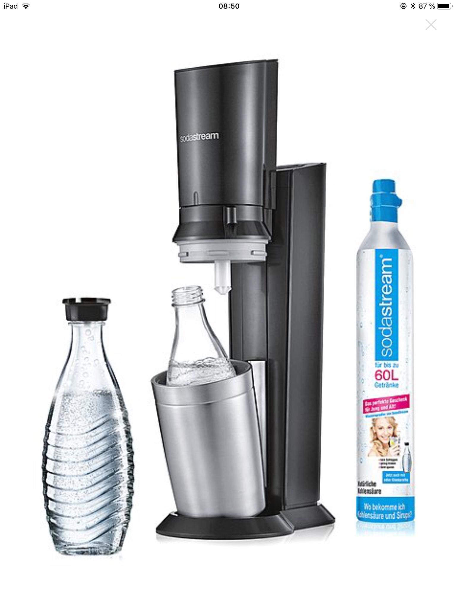 Brands4friends Sodastream Chrystal 2.0 mit Co2-Zylinder und Glaskaraffe schwarz