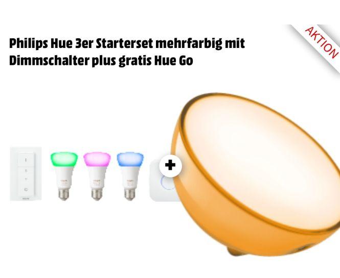 Philips Hue Go +  White & Color Ambience 4. Gen E27 LED Dreierpack mit gratis Hue Go + Dimmschalter + Bridge / kompatibel mit Alexa (Echo, Echo Dot), steuerbar via App / Bei Abholung, ansonsten 4,99 € Versand