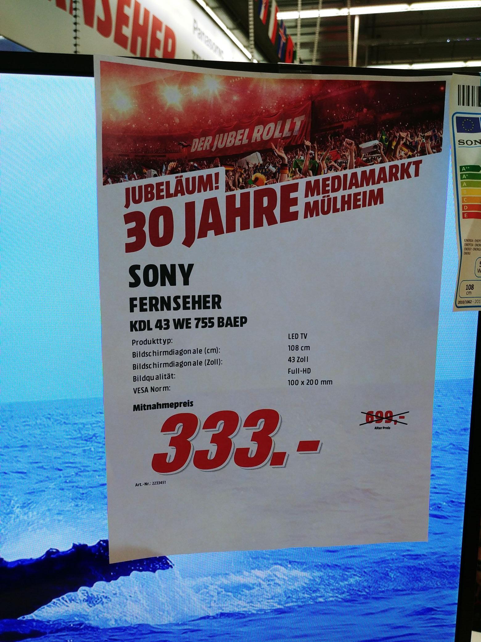 Sony KDL-43 WE 755 BAEP im Media Markt Mülheim/Ruhr