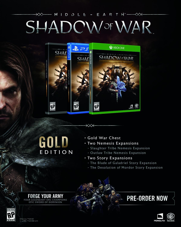 Mittelerde: Schatten des Krieges GOLD Edition Steam Key