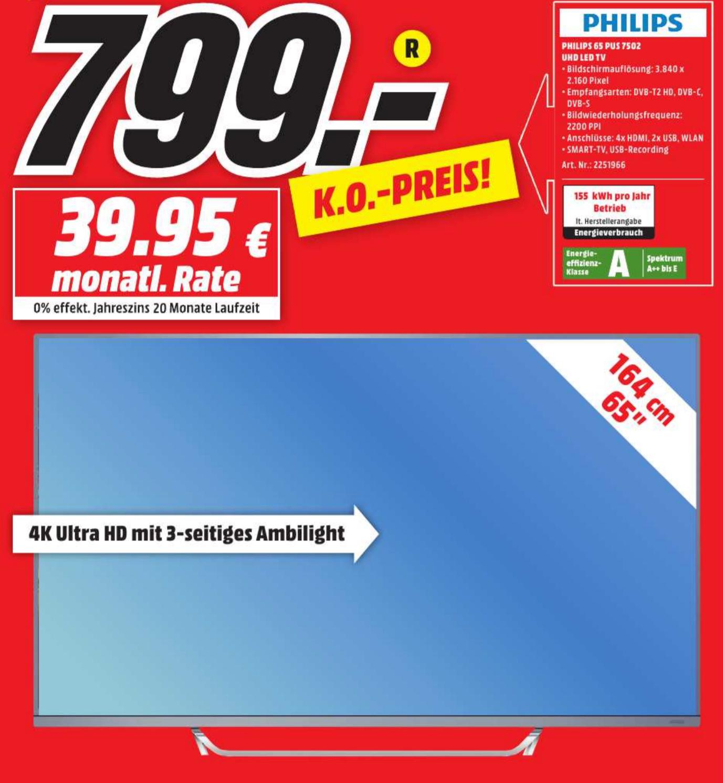 [Lokal] Mediamarkt Egelsbach - Philips 65PUS7502/12 164cm (65 Zoll) LED-Fernseher (Ultra-HD, Smart TV, Android, Ambilight)
