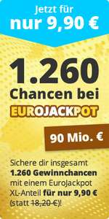 """[Lottohelden Newsletter] """"EuroJackpot"""" Systemschein XL für 9,90 € statt 18,20 €"""