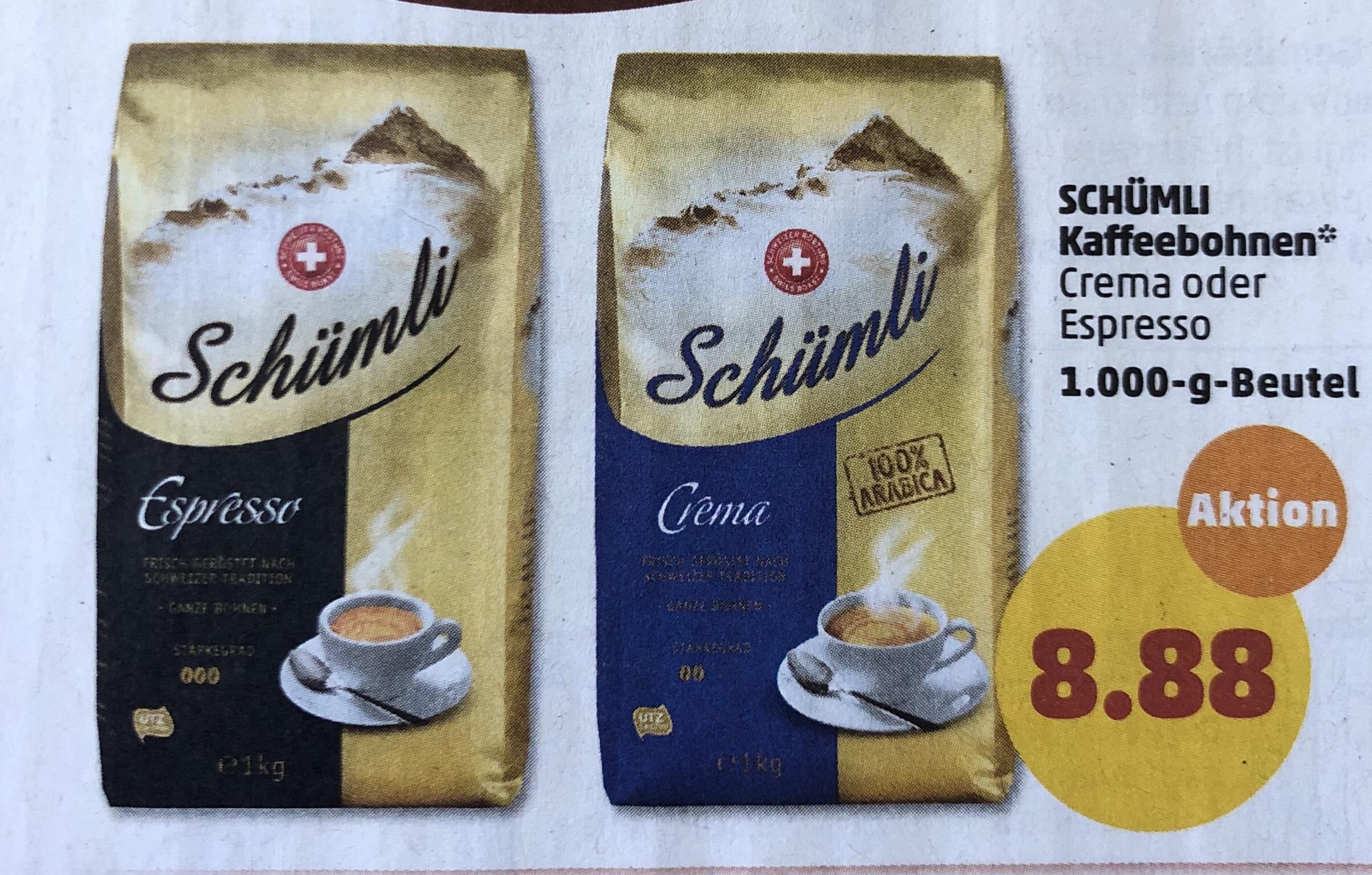 Migros Schümli Kaffee 1kg Crema oder Espresso für 8.88 ab Montag 9.7 [Penny]