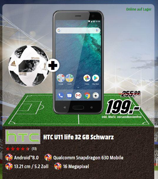 HTC U11 life Smartphone (13,21 cm (5,2 Zoll) Display, 32 GB Speicher, Android 8.0)  in 2 Farben + Fußball für je 199,-€ [Mediamarkt]