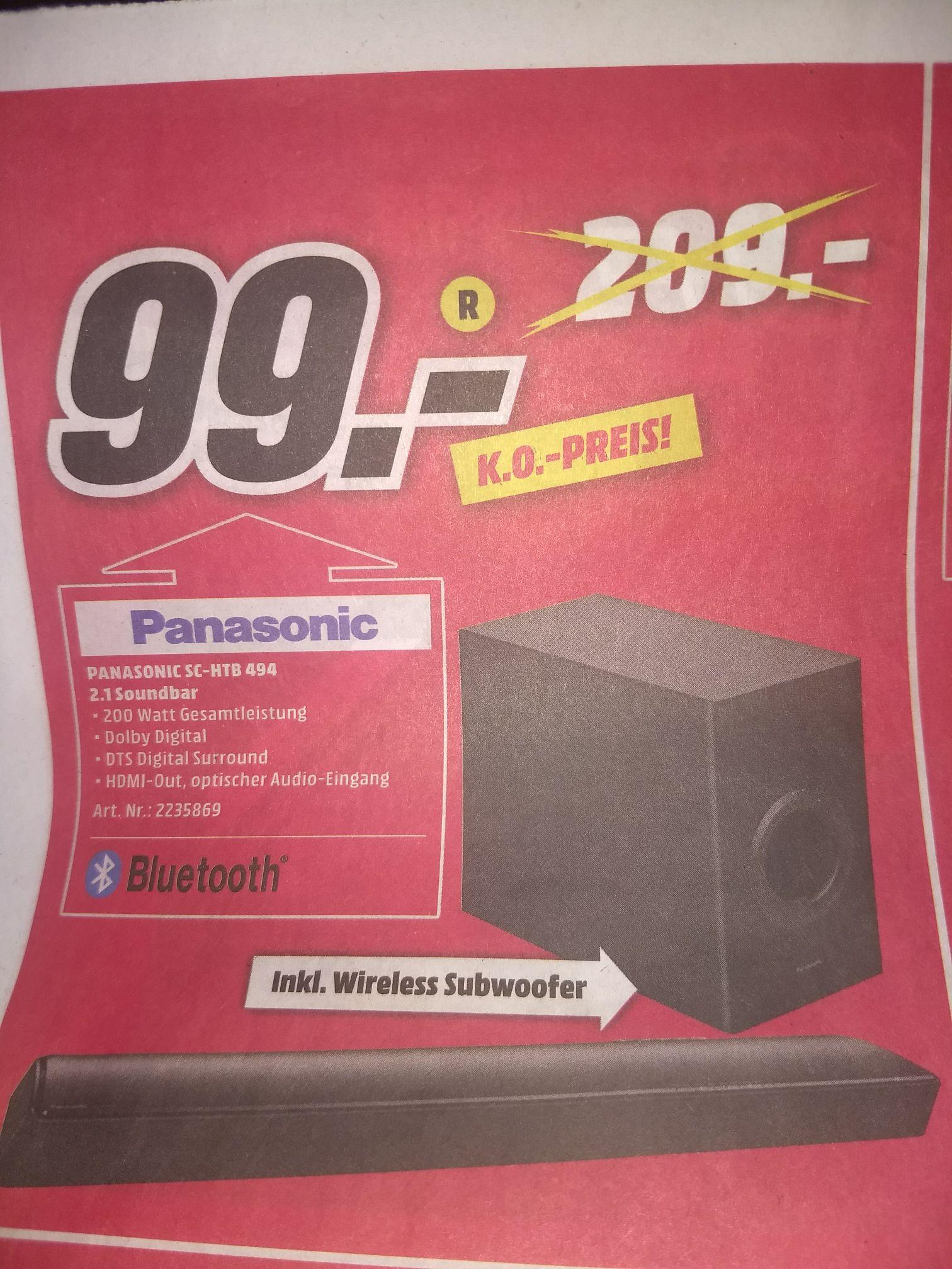 Panasonic Soundbar 2.1 inkl. Subwoofer SC-HTB 494  für 99€
