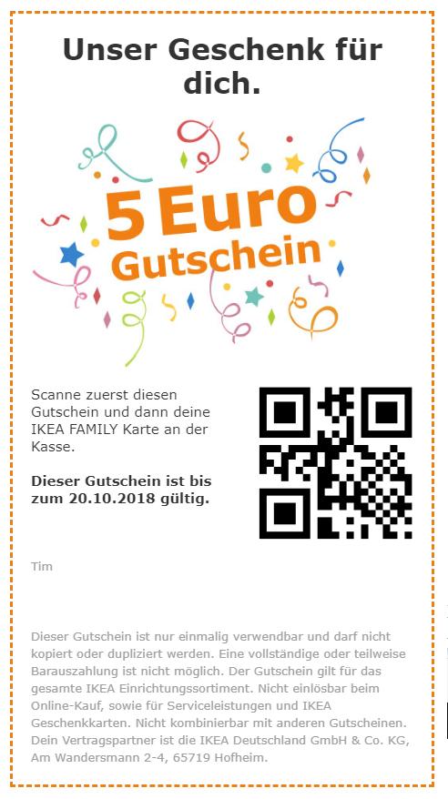 Ikea Family dauerhafter 5 Euro Gutschein ohne MBW