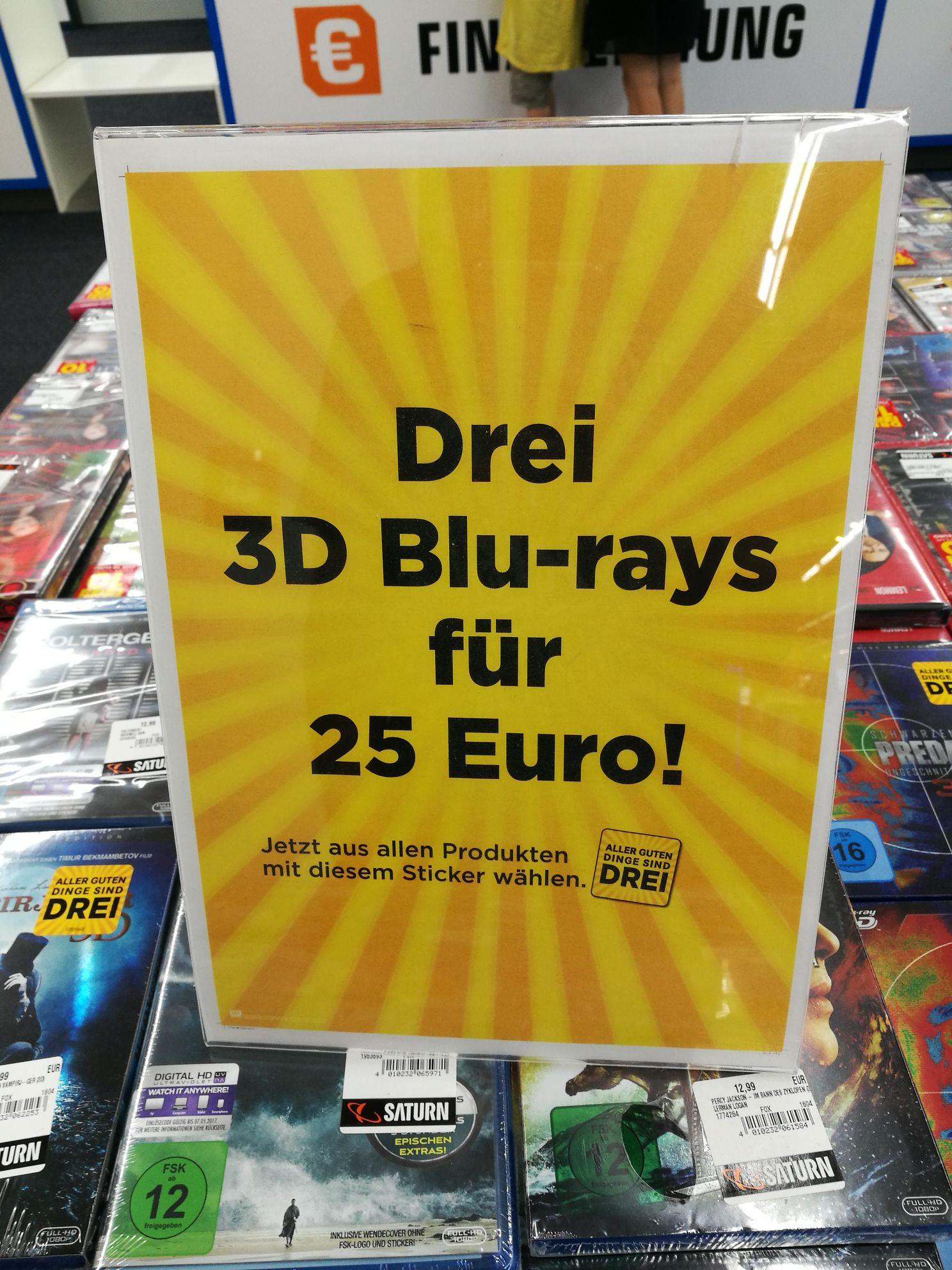 [scheinbar bundesweit] Saturn drei 3d Blu Rays für 25 Euro