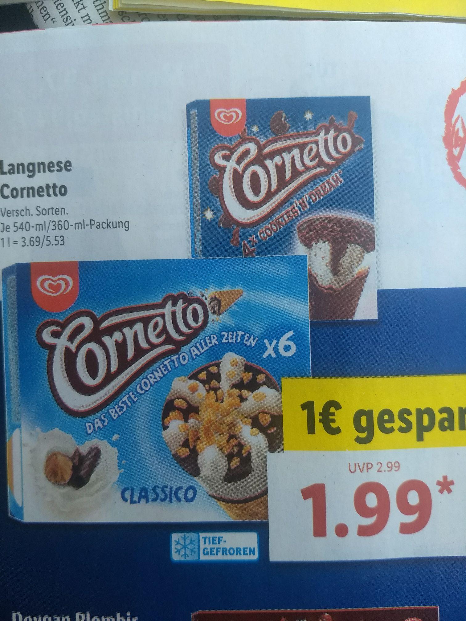 Lidl hat Langnese Cornetto Classic & Cookies Multipack für 1,99€ im Angebot