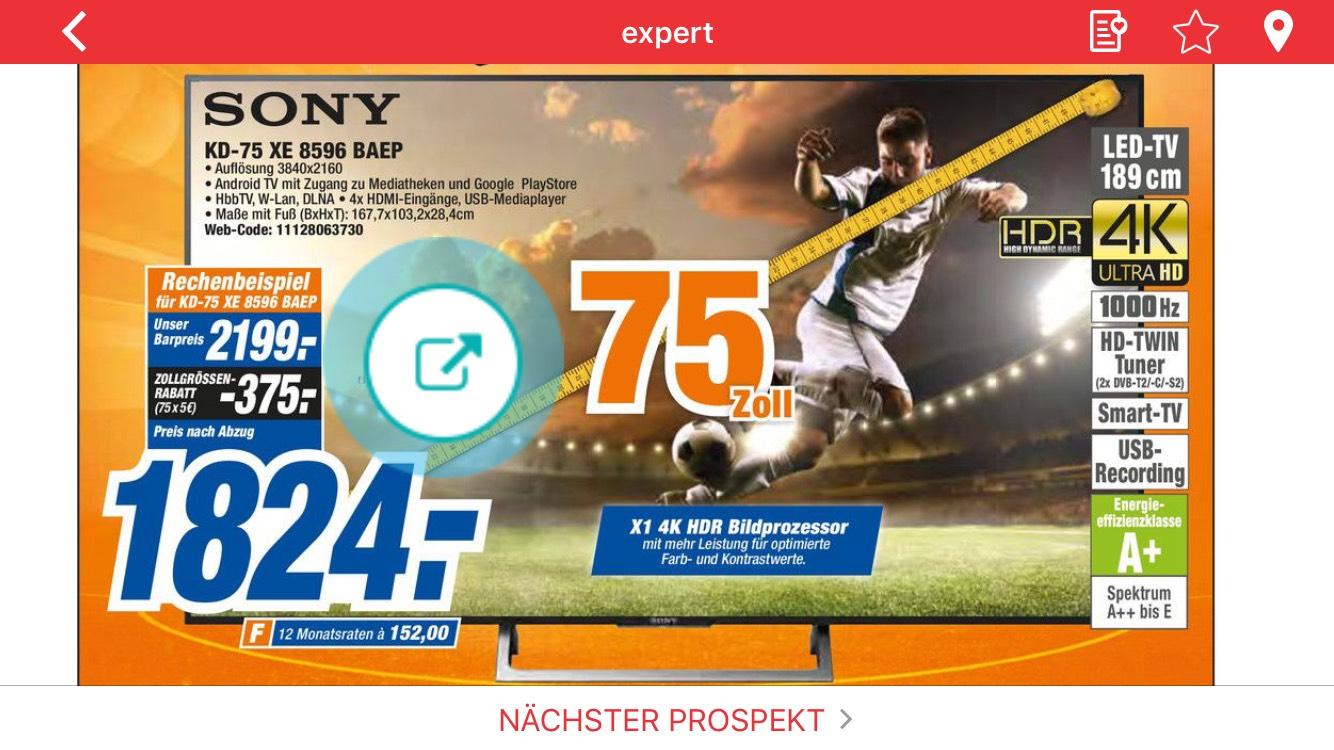 Sony KD 75 XE 8596 Lokal (Region Hannover)