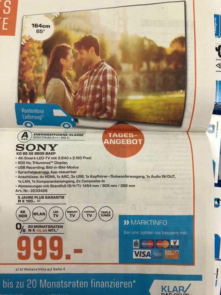 SONY TV 65XE8505 für 999 Euro