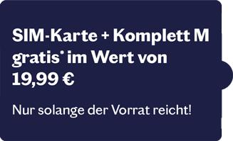 Sim Karte+Komplett M tarif im Wert 19,99€ Gratis 28 Tage