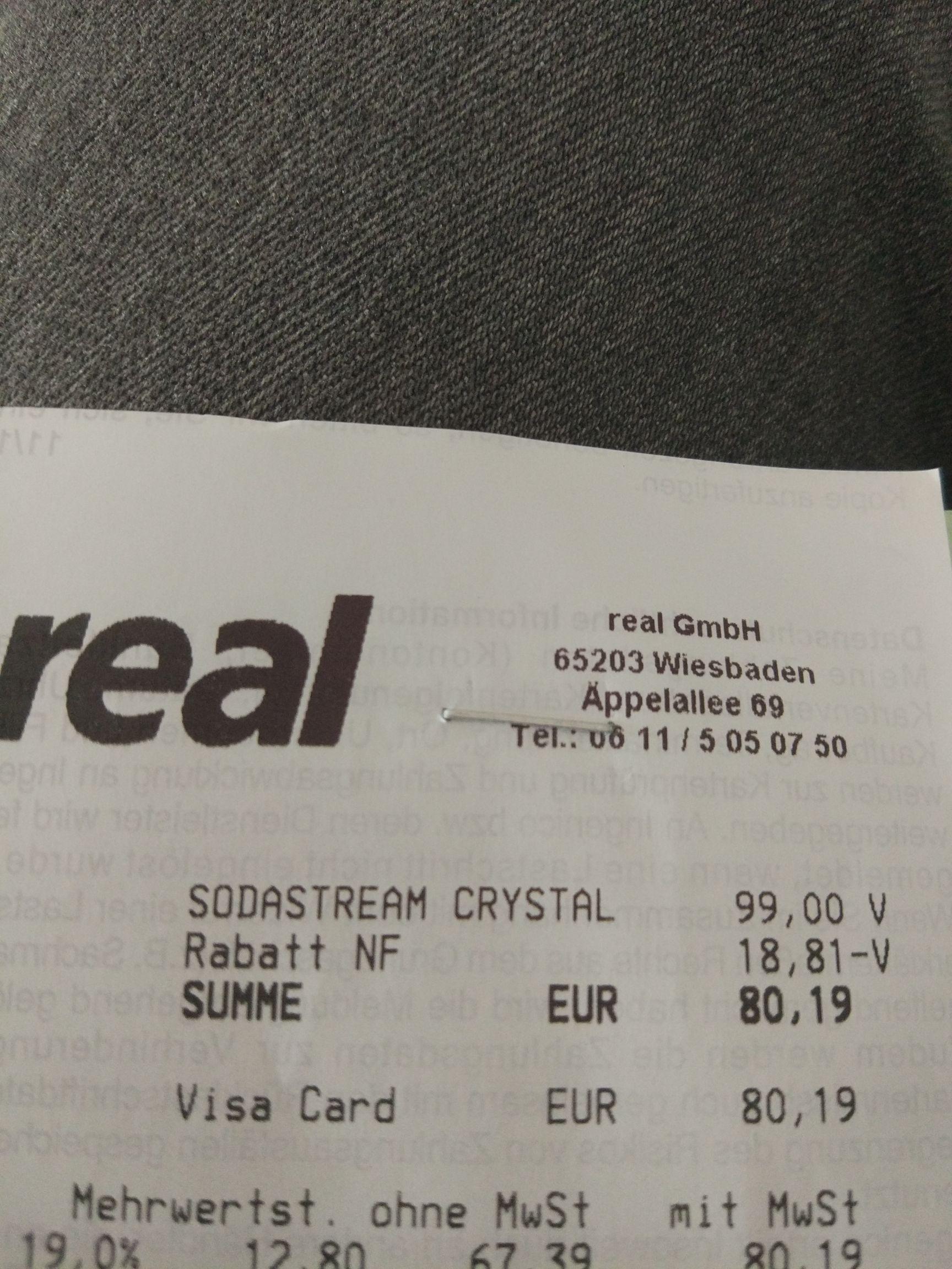 SodaStream Crystal 2.0 Sprudlergerät mit 3 Glasflaschen bei real