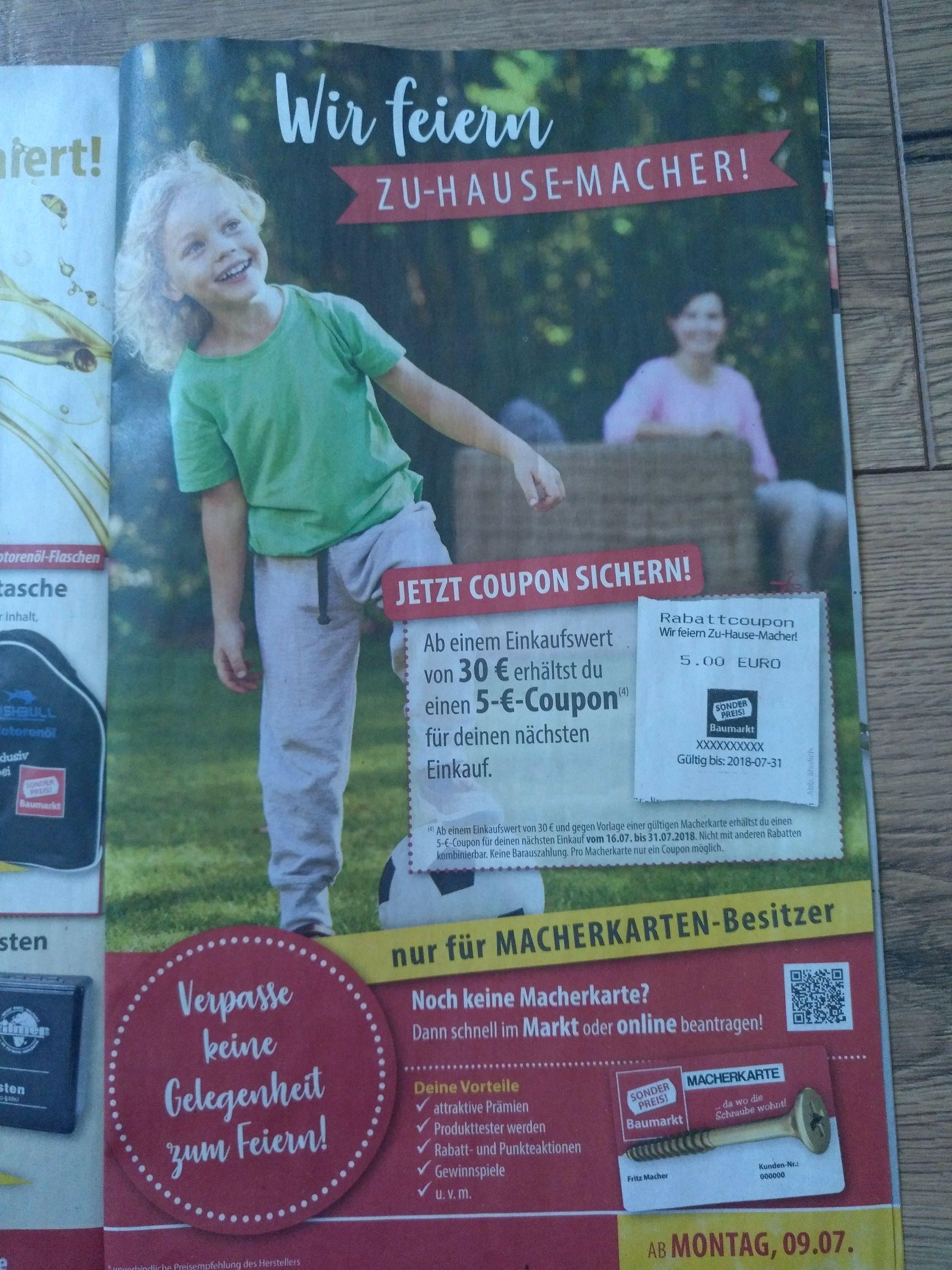 [Sonderpreis Baumarkt]   Ab 30Einkaufswert gibt's einen 5€ Gutschein