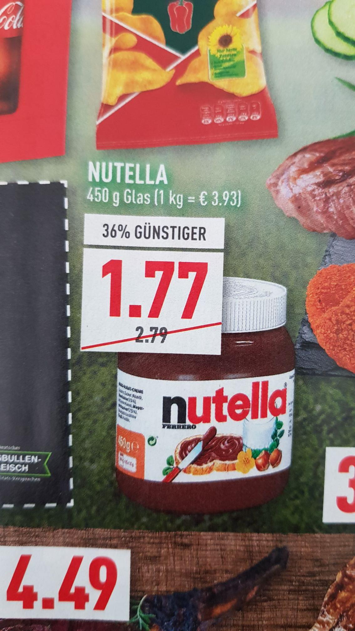 Nutella 450g (1kg=3.93€) Marktkauf Edeka Rewe