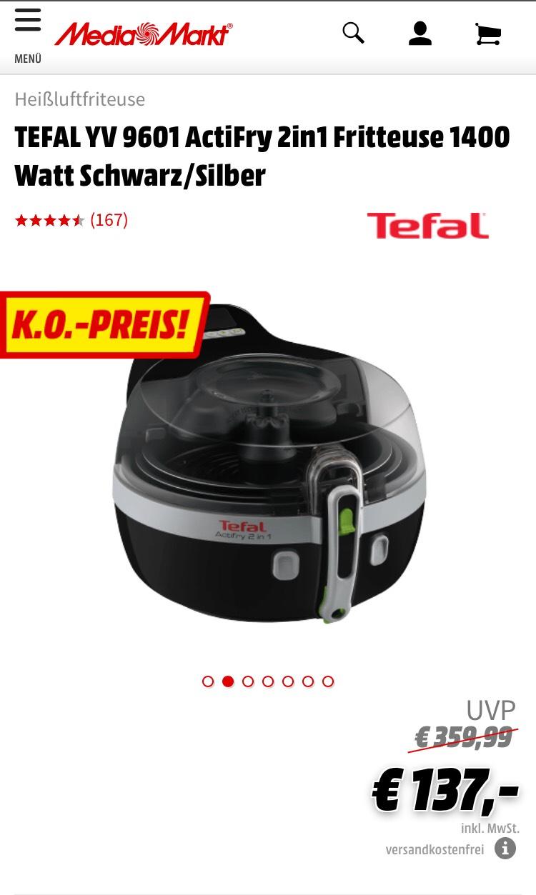 TEFAL YV 9601 ActiFry 2in1 Fritteuse 1400 Watt Schwarz/Silber € 137,- inkl Versand