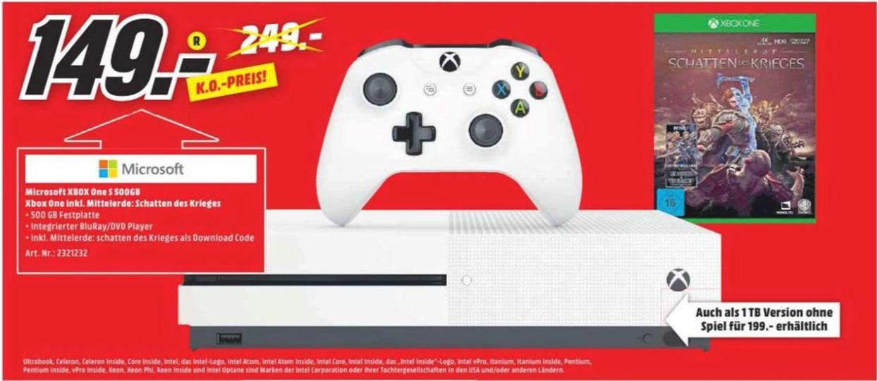 [Regional Mediamarkt Herzogenrath] Microsoft Xbox One S 500GB + Mittelerde: Schatten des Krieges für 149,-€