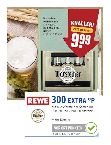 (offline) REWE: Kiste Warsteiner für 9,99€ + 300 Paybackpunkte (= 3€)!!!