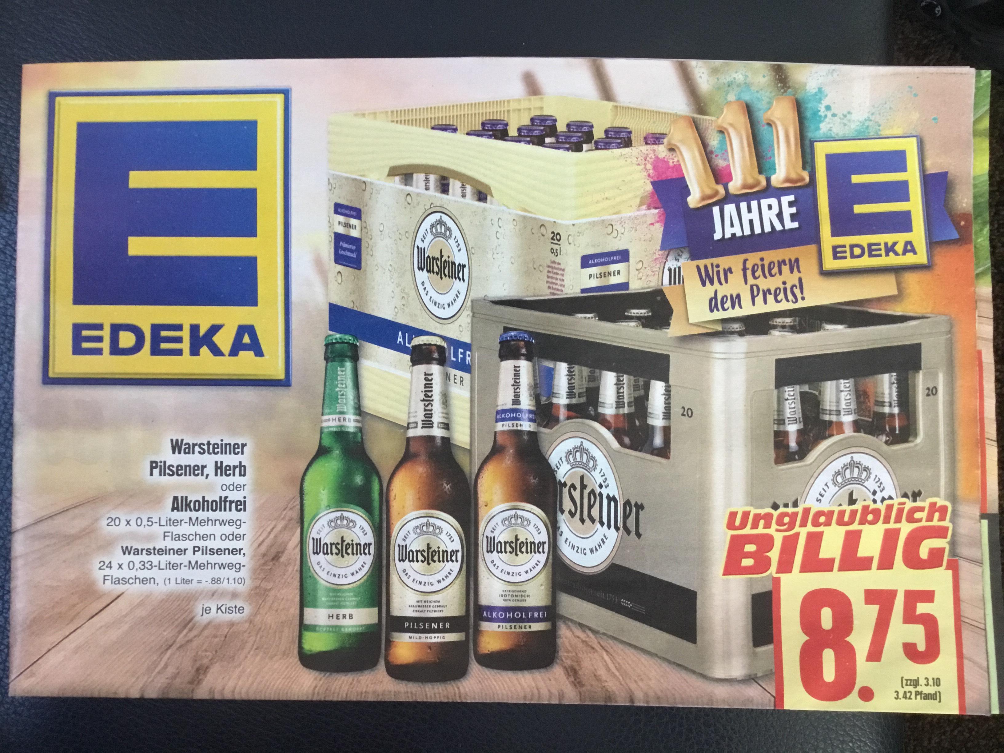 Offline: Edeka in Eschwege hat den Kasten Warsteiner für 8,75 EUR im Angebot